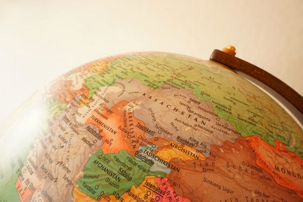 Globe with map of Russia