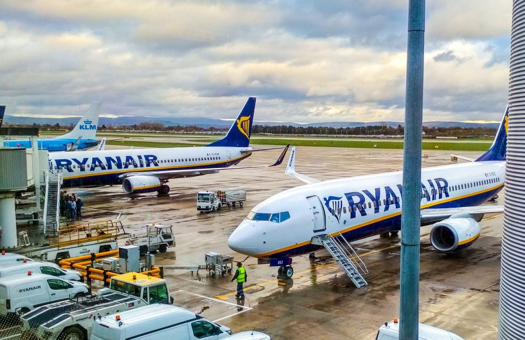 Airplane from Ryanair at departure